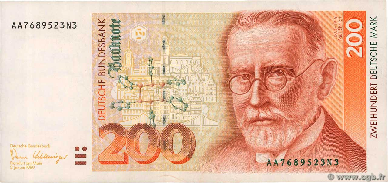 200 Deutsche Mark  GERMAN FEDERAL REPUBLIC  1989 P.42 VF