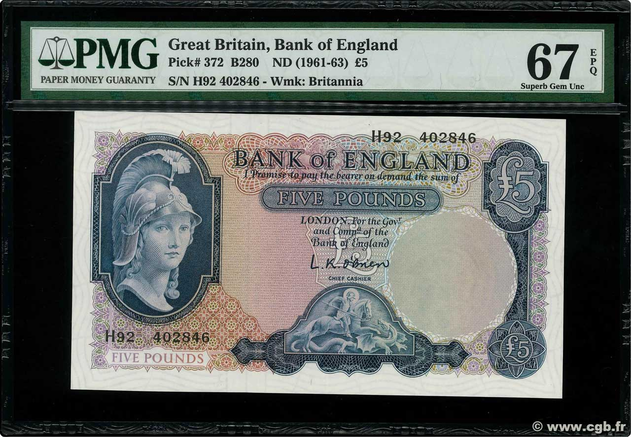 5 Pounds  ENGLAND  1961 P.372a UNC