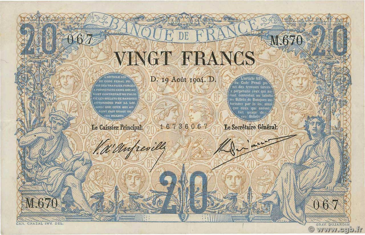 20 Francs NOIR  FRANCE  1904 F.09.03 XF