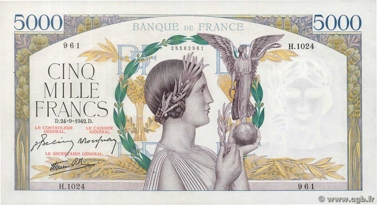 5000 Francs VICTOIRE Impression à plat  FRANCE  1942 F.46.41 SUP