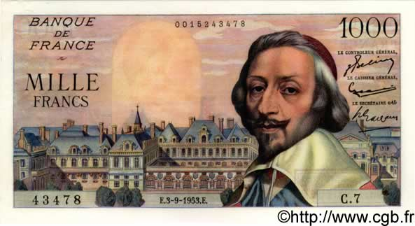 1000 Francs RICHELIEU FRANCE  1953 F.42.02 NEUF
