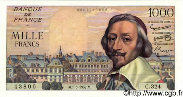 1000 Francs RICHELIEU FRANCE  1957 F.42.25 SPL