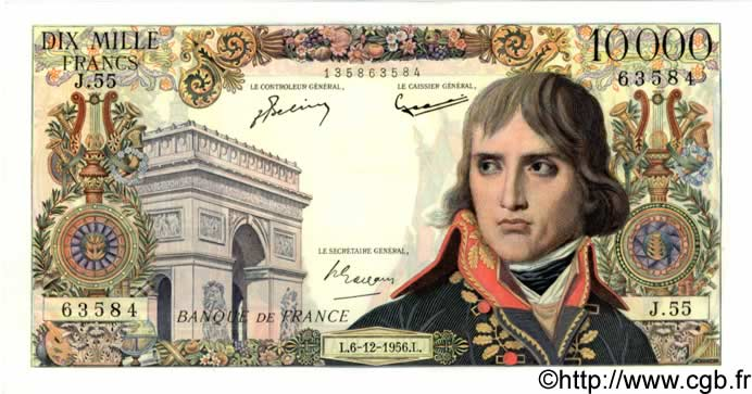 10000 Francs BONAPARTE FRANCE  1956 F.51.06 SPL