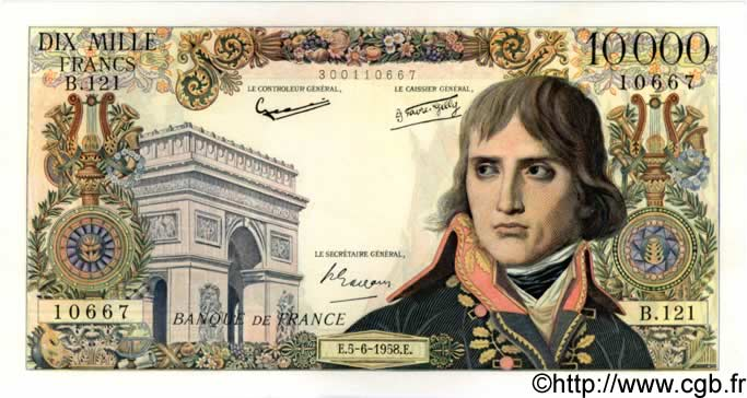 10000 Francs BONAPARTE FRANCE  1958 F.51.12 SUP+