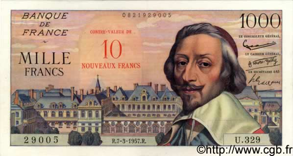 10 NF sur 1000 Francs RICHELIEU FRANCE  1957 F.53.01 SPL+