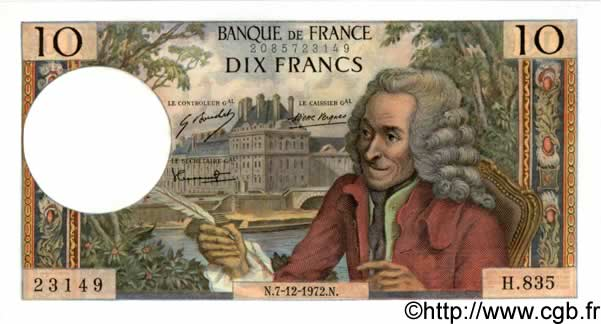 10 Francs VOLTAIRE FRANCE  1972 F.62.59 pr.NEUF