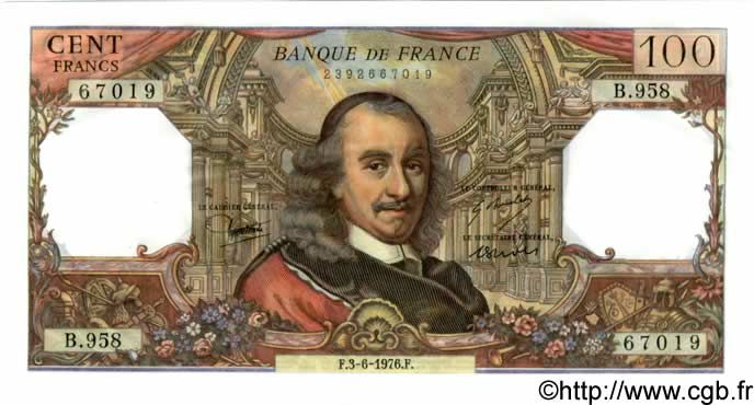 100 Francs CORNEILLE FRANCE  1976 F.65.53 NEUF