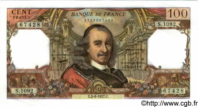 100 Francs CORNEILLE FRANCE  1977 F.65.58 SUP+