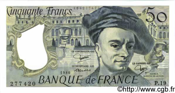 50 Francs QUENTIN DE LA TOUR FRANCE  1980 F.67.06 UNC-