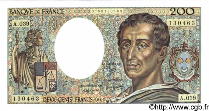 200 Francs MONTESQUIEU FRANCE  1986 F.70.06 NEUF