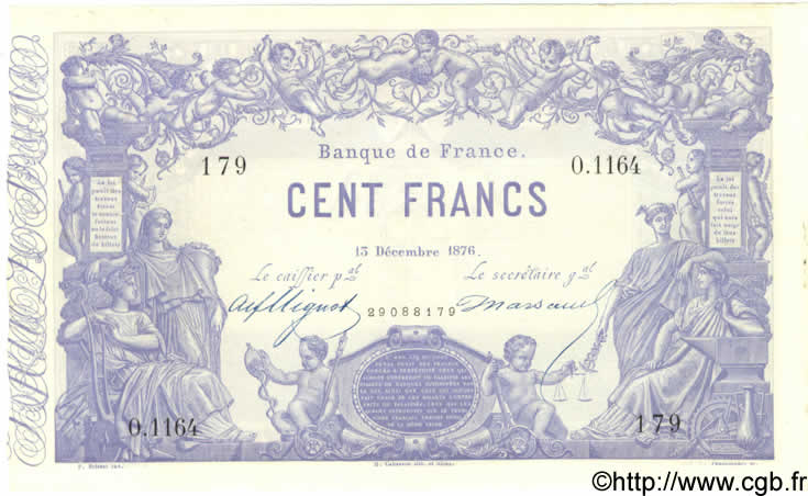 100 Francs 1862, indices noirs FRANCE  1876 F.A39.12 SUP