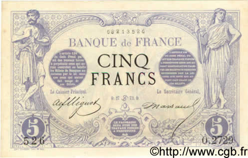 5 Francs NOIR FRANCE  1873 F.01.19 SUP à SPL
