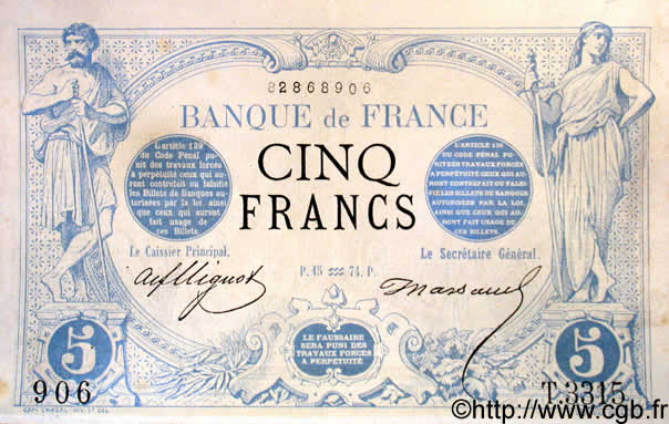 5 Francs NOIR FRANCE  1874 F.01.25 SUP