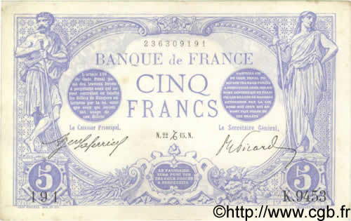 5 Francs BLEU FRANCE  1915 F.02.34 TTB+ à SUP