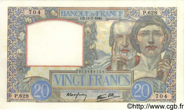 20 Francs SCIENCE ET TRAVAIL FRANCE  1940 F.12.04 pr.SPL