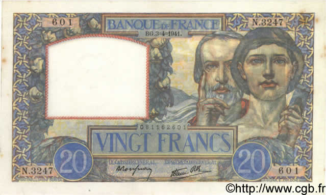 20 Francs SCIENCE ET TRAVAIL FRANCE  1941 F.12.13 SPL