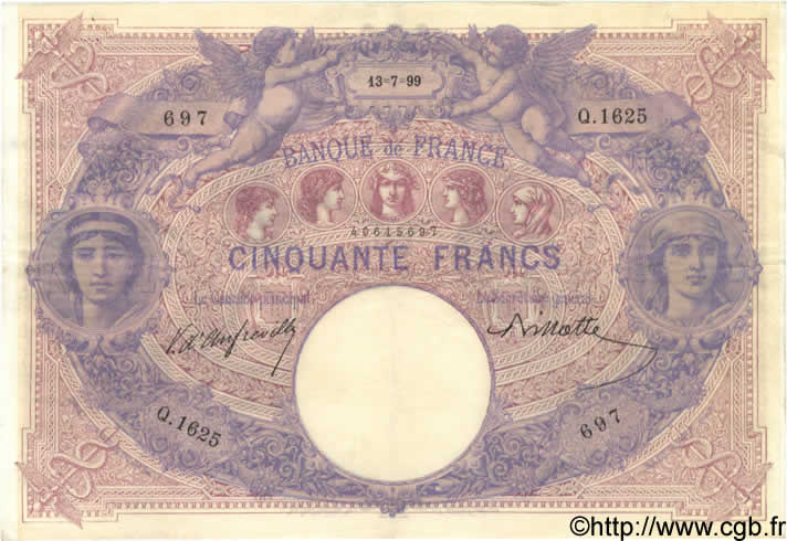 50 Francs BLEU ET ROSE FRANCE  1899 F.14.11 TTB+