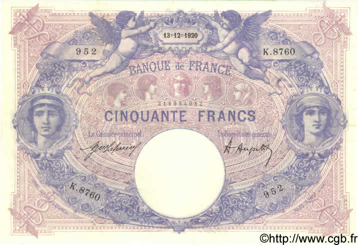 50 Francs BLEU ET ROSE FRANCE  1920 F.14.33 pr.SUP