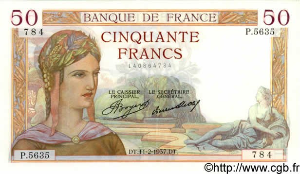 50 Francs CÉRÈS FRANCE  1937 F.17.34 SPL