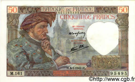 50 Francs JACQUES CŒUR FRANCE  1942 F.19.18 SUP
