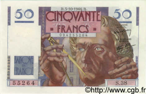 50 Francs LE VERRIER FRANCE  1946 F.20.06 SPL+