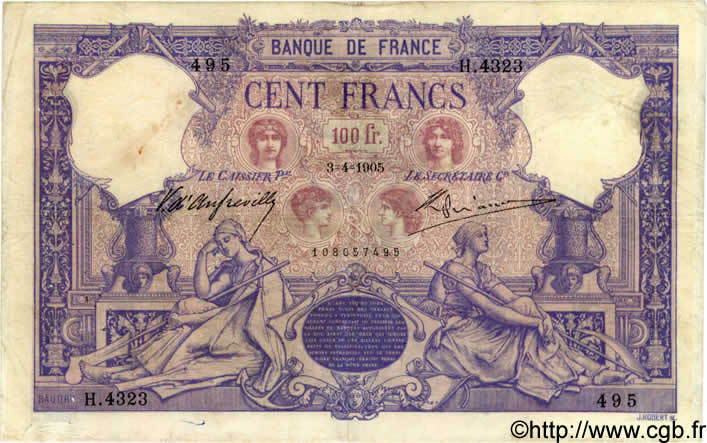 100 Francs BLEU ET ROSE FRANCE  1905 F.21.19 TB+