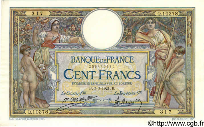 100 Francs LUC OLIVIER MERSON grands cartouches FRANCE  1924 F.24.02 pr.SPL
