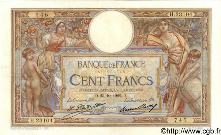 100 Francs LUC OLIVIER MERSON grands cartouches FRANCE  1928 F.24.07 SUP+