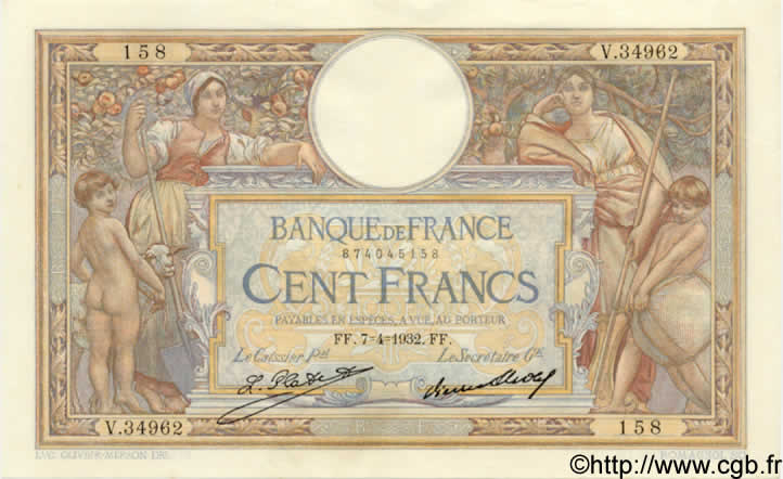 100 Francs LUC OLIVIER MERSON grands cartouches FRANCE  1932 F.24.11 SPL+