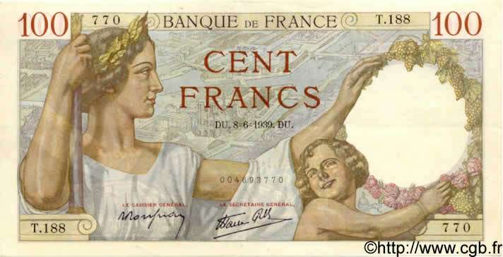 100 Francs SULLY FRANCE  1939 F.26.02 SUP