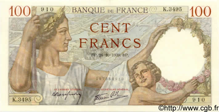 100 Francs SULLY FRANCE  1939 F.26.12 SPL+