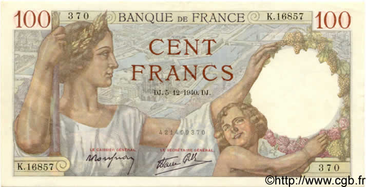 100 Francs SULLY FRANCE  1940 F.26.42 SPL