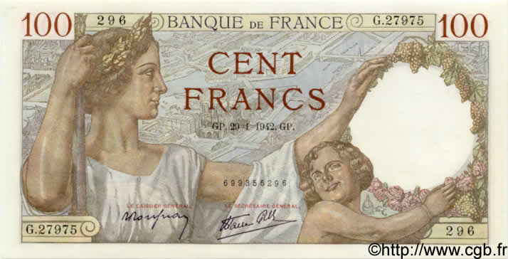 100 Francs SULLY FRANCE  1942 F.26.65 pr.NEUF