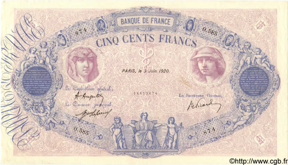 500 Francs BLEU ET ROSE FRANCE  1920 F.30.24 pr.SUP
