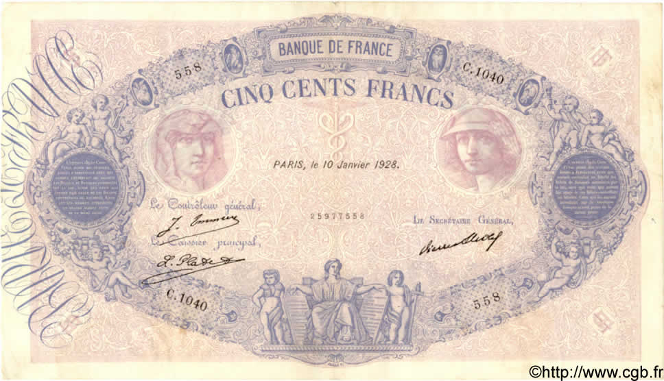 500 Francs BLEU ET ROSE FRANCE  1928 F.30.31 TTB