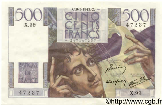 500 Francs CHATEAUBRIAND FRANCE  1947 F.34.07 pr.SPL