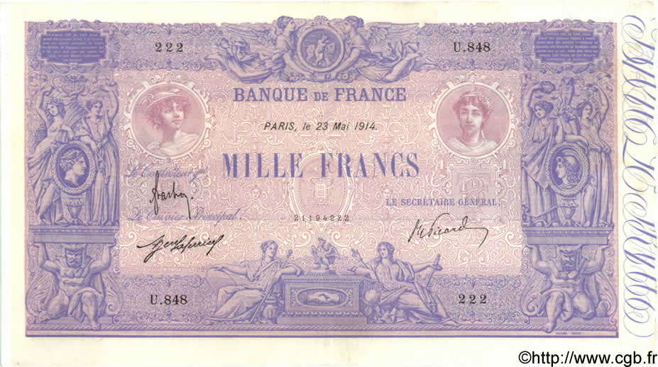1000 Francs BLEU ET ROSE FRANCE  1914 F.36.28 TTB+
