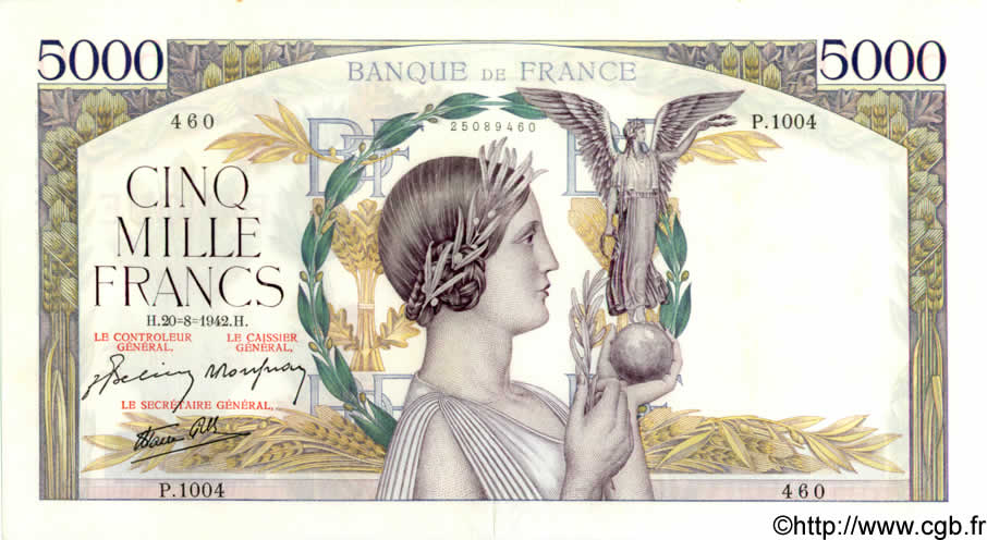 5000 Francs VICTOIRE Impression à plat FRANCE  1942 F.46.40 SUP+