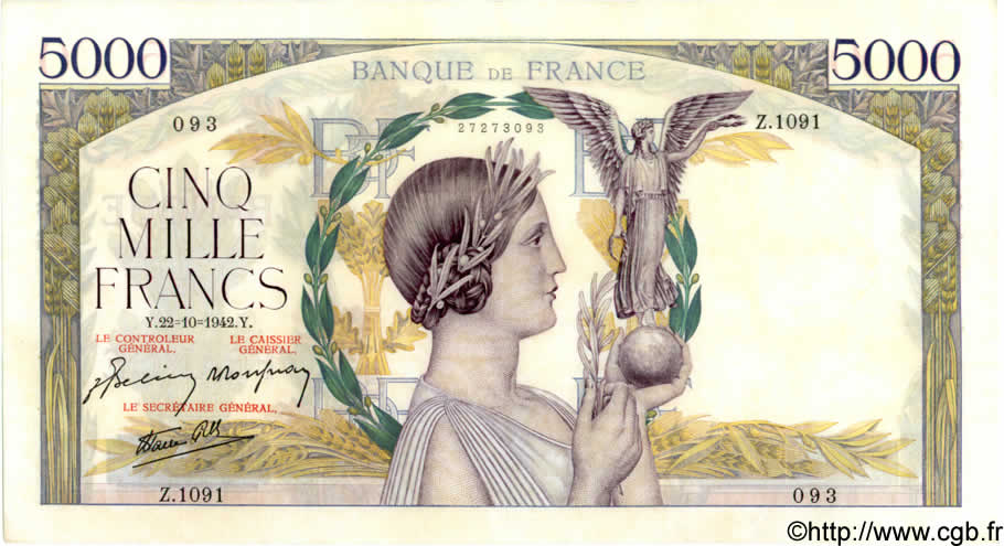 5000 Francs VICTOIRE Impression à plat FRANCE  1942 F.46.43 SUP+