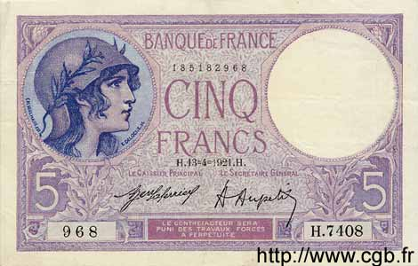 5 Francs VIOLET FRANCE  1921 F.03.05 pr.SUP