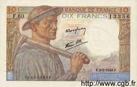 10 Francs MINEUR FRANCE  1943 F.08.09 SPL+