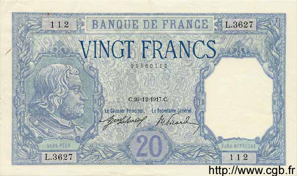 20 Francs BAYARD FRANCE  1917 F.11.02 pr.SUP