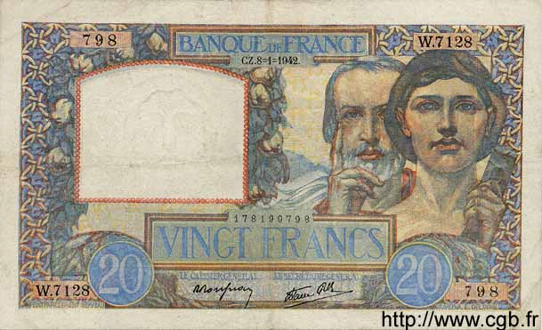 20 Francs SCIENCE ET TRAVAIL FRANCE  1942 F.12.21 TTB