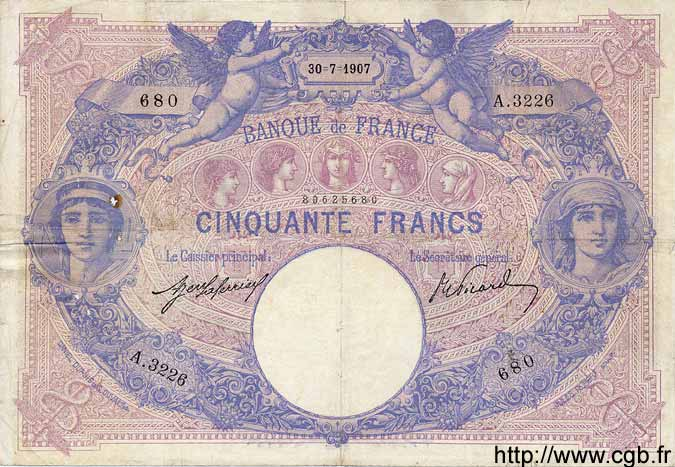 50 Francs BLEU ET ROSE FRANCE  1907 F.14.20 TB+