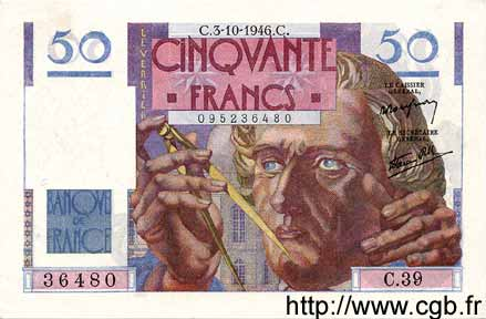 50 Francs LE VERRIER FRANCE  1946 F.20.06 SPL
