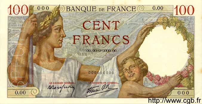 100 Francs SULLY FRANCE  1939 F.26.00s1 pr.NEUF