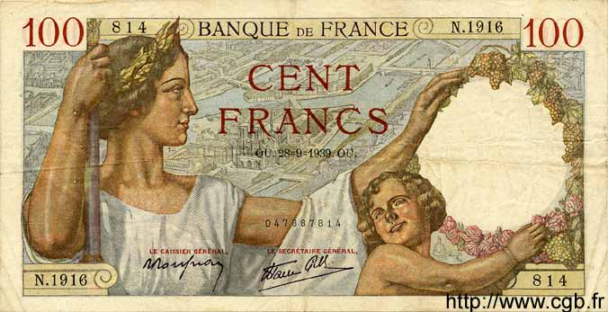 100 Francs SULLY FRANCE  1939 F.26.08 TTB
