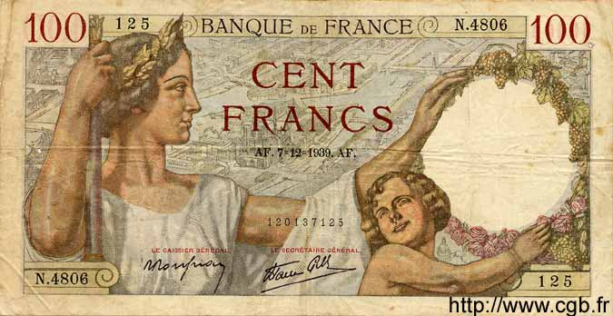 100 Francs SULLY FRANCE  1939 F.26.17 TB+