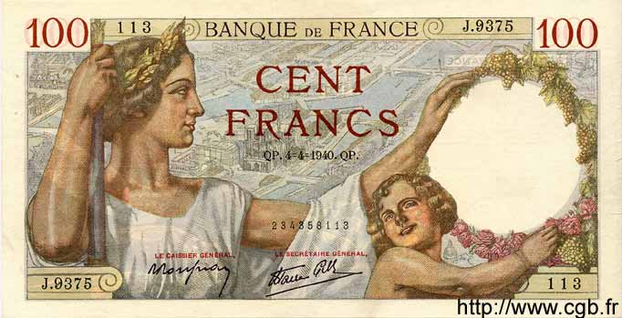 100 Francs SULLY FRANCE  1940 F.26.26 pr.SUP