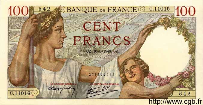 100 Francs SULLY FRANCE  1940 F.26.29 SPL